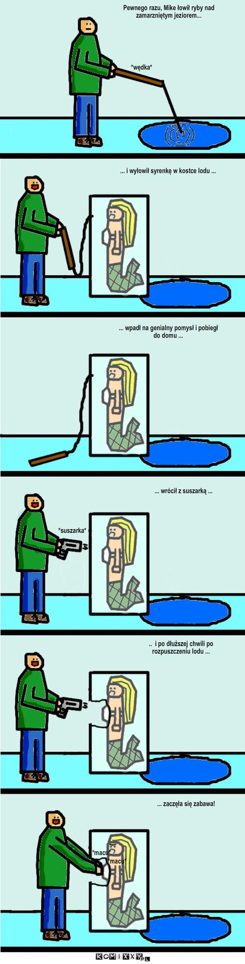 Syrenka – Pewnego razu, Mike łowił ryby nad zamarzniętym jeziorem... ... i wyłowił syrenkę w kostce lodu ... ... wpadł na genialny pomysł i pobiegł do domu ... ... wrócił z suszarką ... *suszarka* ..  i po dłuższej chwili po rozpuszczeniu lodu ... ... zaczęła się zabawa! *macu* *macu* *wędka*