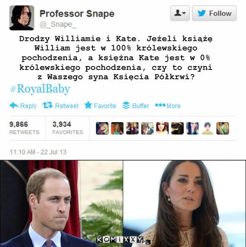 Książę Półkrwi – Drodzy Williamie i Kate. Jeżeli książę William jest w 100% królewskiego pochodzenia, a księżna Kate jest w 0% królewskiego pochodzenia, czy to czyni z Waszego syna Księcia Półkrwi?