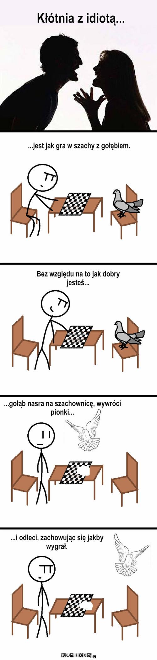 Kłótnia z idiotą – Kłótnia z idiotą... ...gołąb nasra na szachownicę, wywróci pionki... Bez względu na to jak dobry jesteś... ...jest jak gra w szachy z gołębiem. ...i odleci, zachowując się jakby wygrał.